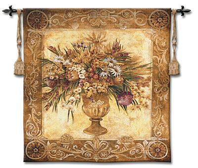 Tuscan Urn Still Life Tapestry Wall Hanging - Floral Bouquet Picture, 45in X 53in