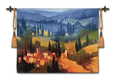 Tuscan Valley View Landscape Wall Tapestry - Italian Countryside, 53in X 44in