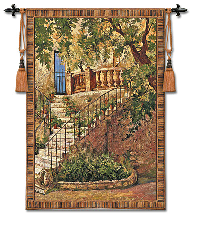 Tuscan Villa I Tapestry - Italian Countryside Picture, 53in X 71in