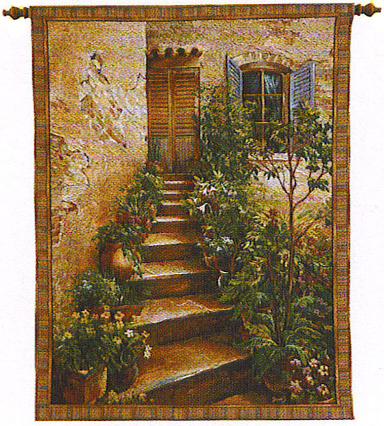 Tuscan Villa II Tapestry Wall Hanging - Italian Countryside Picture, 53in X 75in