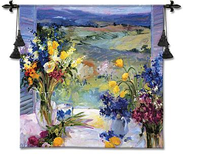 Tuscany Floral Window View Wall Tapestry - Italian Landscape View With Flowers, 53in X 53in
