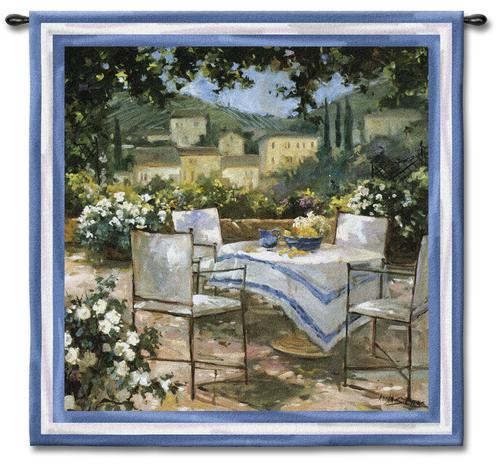 Tuscany Terrace Garden Tapestry Wall Hanging, 53in X 53in