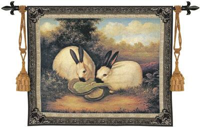 Two Himalayan Rabbits Animal Wall Tapestry, 53in X 43in