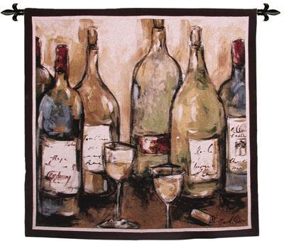 Uncorked Wine Still Life Wall Tapestry, 53in X 53in