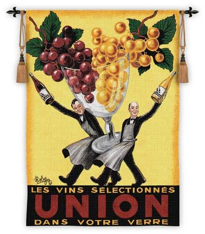 Union Grape & Wine Wall Tapestry - Vintage Poster, 37in X 53in