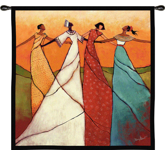 Unity African Tapestry Wall Hanging - Ethnic Designs, 53in X 53in
