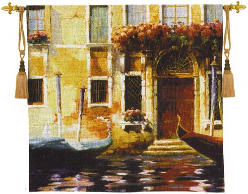 Venetian Gondolas II Cityscape Tapestry Wall Hanging - Venice Picture, 53in X 53in
