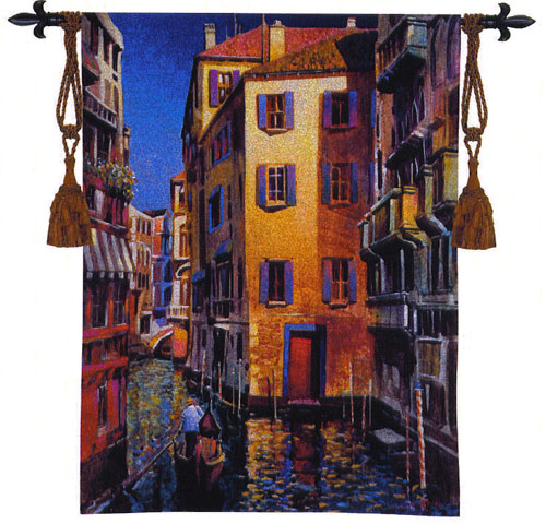 Venetian Light Cityscape Tapestry Wall Hanging - Venice Picture, 40in X 53in