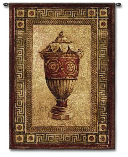 Vessel Of Antiquity II Ornamental Still Life Tapestry Wall Hanging, 39in X 53in