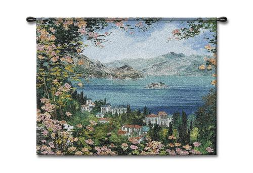 View Of Isola Bella Coastal Wall Tapestry - Seaside Picture, 53in X 40in