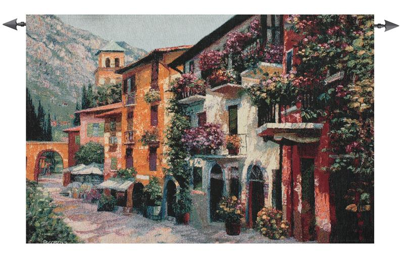 Village Hideaway Tapestry Wall Hanging - Italian Countryside Picture, 53in X 35in