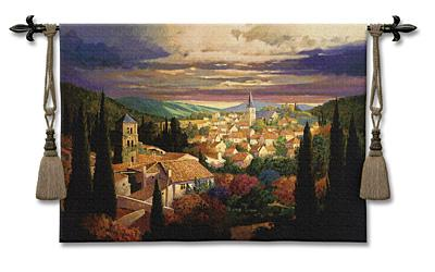 Village In The Sun European Landscape Wall Tapestry - Tuscan Village Scene, 53in X 38in