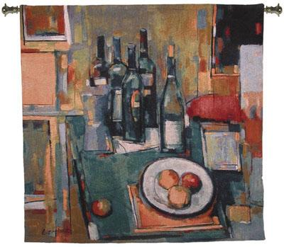 Vin Blanc Still Life Wall Tapestry - Abstract Collage With Wine, 53in X 53in
