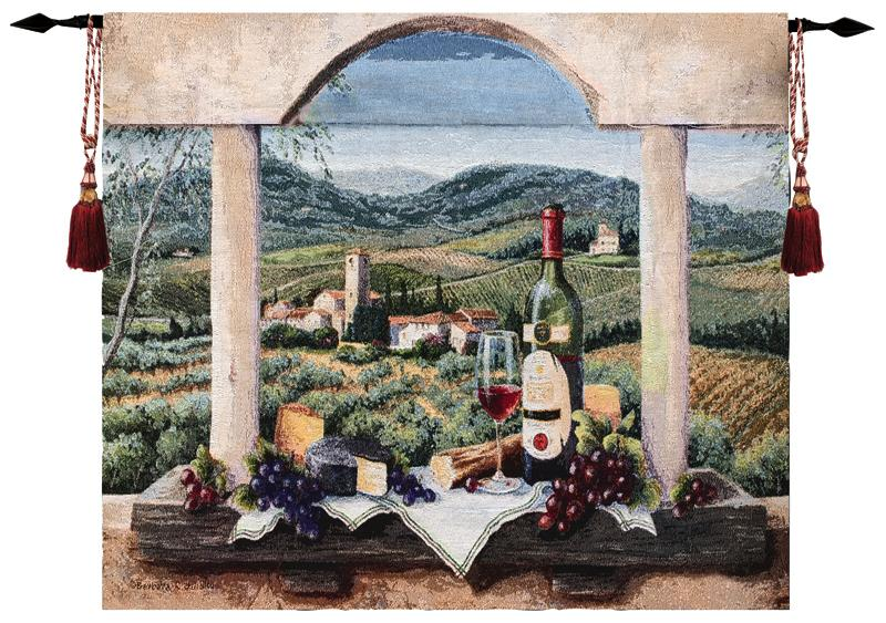 Vin De Provence Window View Tapestry - Still Life With Grape & Wine, 35in X 30in