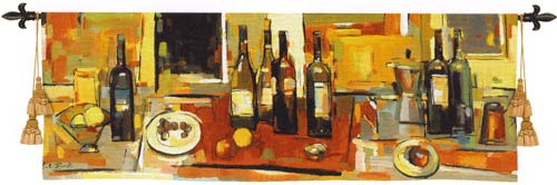 Vin Rouge Panel Wine Still Life Tapestry Wall Hanging - Bottle Picture, 80in X 27in