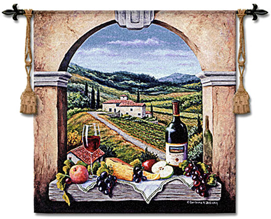 Vineyard Road Wine Still Life Tapestry Wall Hanging - Window View Picture, 53in X 53in