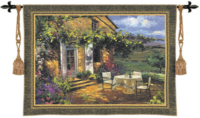 Vineyard Villa Tapestry Wall Hanging - Countryside Picture, 76in X 53in