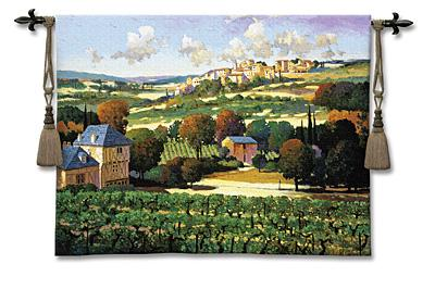 Vineyards Of Provence Landscape Tapestry Wall Hanging - French Provincial Town, 53in X 42in