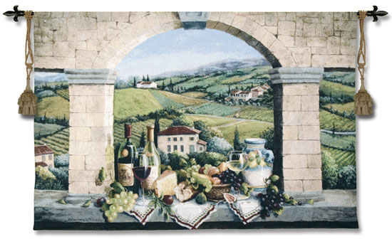 Vino De Tuscany Wine Still Life Tapestry - Vindow View Scene Picture, 52in X 44in
