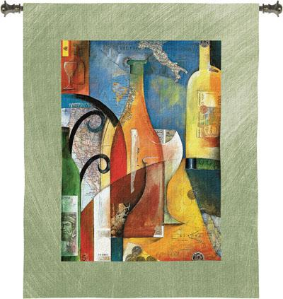 Vino Wine Still Life Wall Tapestry - Abstract Design With Wine, 39in X 53in