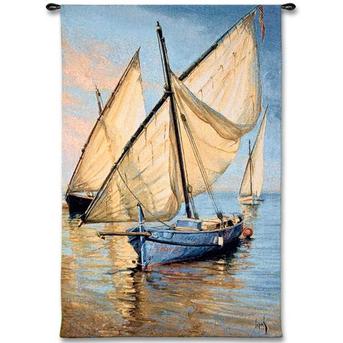 Violet Boat Nautical Wall Tapestry - Sailing Ship Picture, 35in X 52in