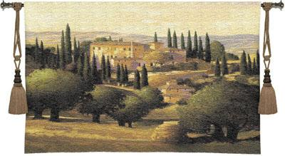 Warm Tuscan Sun European Landscape Wall Tapestry, 53in X 43in