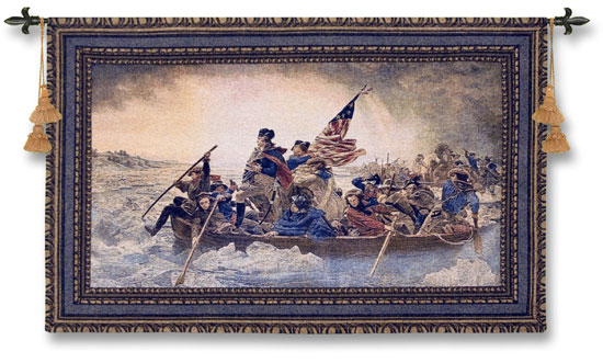 Washington Crossing The Delaware Fine Art Wall Tapestry - Boat At The Sea, 53in X 32in