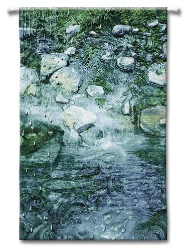 Water Contemporary Wall Tapestry - Abstract Landscape, 34in X 53in