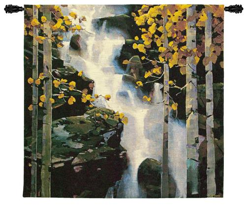 Waterfall Landscape Tapestry Wall Hanging - Wood Scene, 53in X 53in