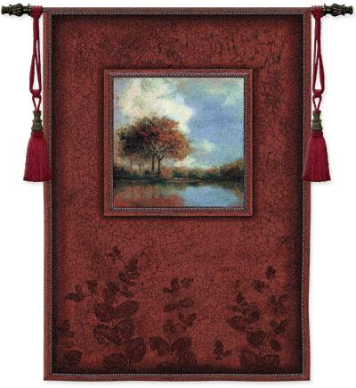 Waters Mist Landscape Wall Tapestry - Modern Design In Warm Colors, 38in X 53in