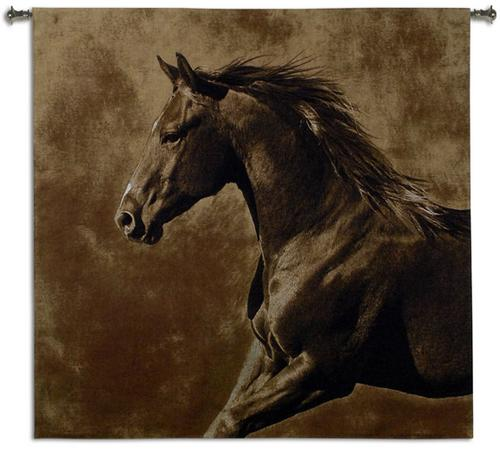 Westward Gallop Animal Wall Tapestry - Horse Picture, 53in X 51in