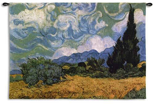 Wheatfields Cypress Landscape Wall Tapestry - Van Gogh'S Painting, 54in X 40in