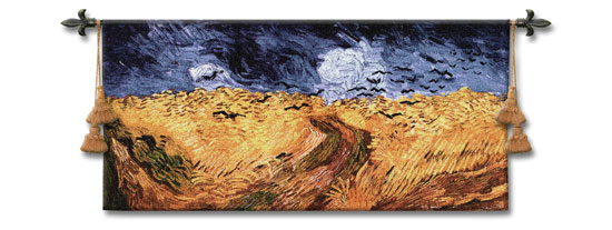 Wheatfields With Crows Tapestry Abstract Landscape Of Van Gogh, 54in X 26in