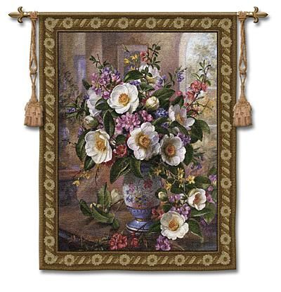 Whimsy Still Life Wall Tapestry - Flowers In A Vase Picture, 40in X 53in