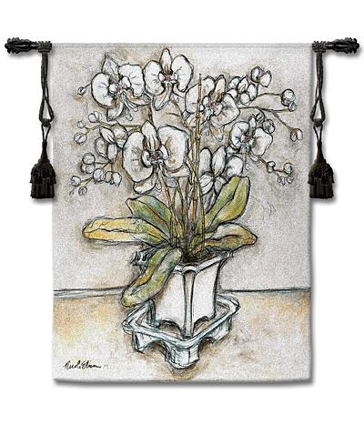 White Orchid Contemporary Tapestry Wall Hanging - Modern Floral Design, 42in X 53in
