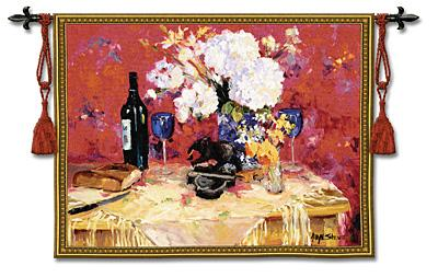 White Roses With Wine Still Life Wall Tapestry - Flowers & Wine, 53in X 40in