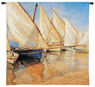 White Sails I Nautical Wall Tapestry - Sailing Ship Picture, 53in X 54in
