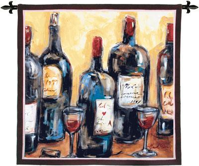 Wine Bar Wine Still Life Wall Tapestry, 53in X 53in