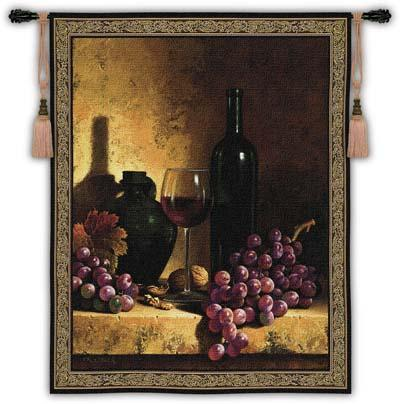 Wine Bottle With Grape & Walnuts Wine Still Life Wall Tapestry, 53in X 59in