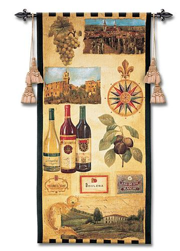 Wine Country I Wine Wall Tapestry - Vintage Collage, 27in X 53in
