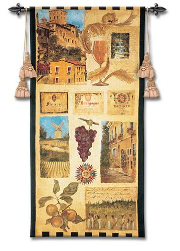 Wine Country II Wine Wall Tapestry - Vintage Collage, 27in X 53in