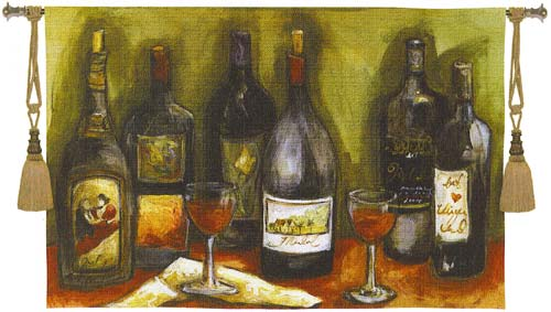 Wine Still Life Vineyard Tapestry Wall Hanging - Bottle Picture, 35in X 53in