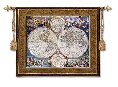 World Map Geographical Tapestry Wall Hanging, 52in X 42in