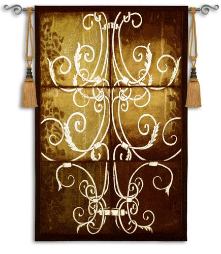Wrought Iron Damask Ornamental Tapestry Wall Hanging, 34in X 53in
