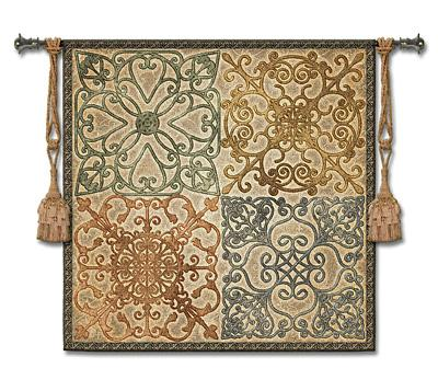 Wrought Iron Elegance Ornamental Wall Tapestry, 53in X 53in