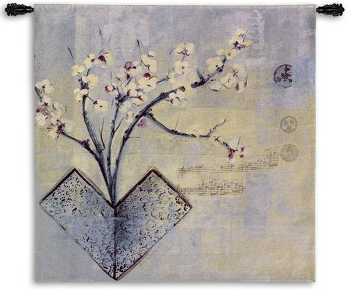 Zen Flower Contemporary Floral Tapestry Wall Hanging - Oriental Motif, 53in X 53in