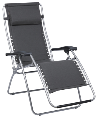 Lafuma RSX Recliner - Ardoise Grey Padded Gravity Chair - Zero Gravity Chair Back Comfort