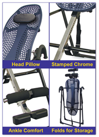 EP-550 Inversion Table features a padded Head Pillow, Stamped Chrome, Padded Ankle Supports and easily folds for storage