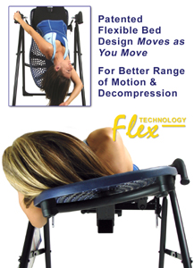 EP-550 Inversion Table features patented flexible bed design that moves as you move