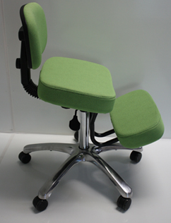 Deluxe JAZZY Kneeling Chair - Jobri Memory Foam Pneumatic Lift Swivel Kneeling Chairs With Back Rest F1446 - New Lime Color